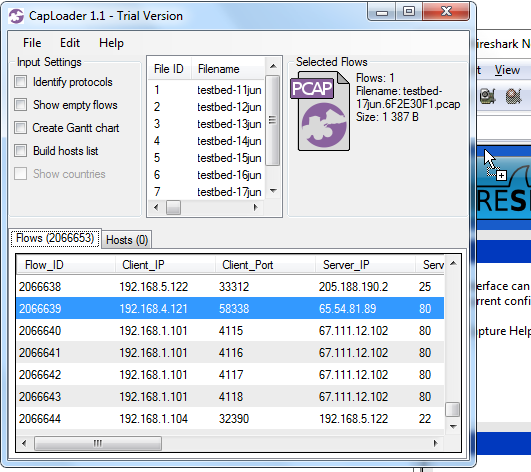 Drag-and-Drop from CapLoader to Wireshark