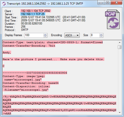 CapLoader Flow Transcript of SMTP email attachment