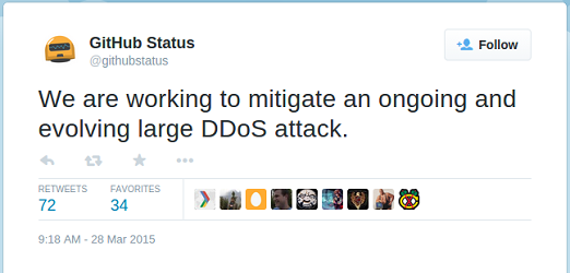 GitHub tweeting about DDoS attack