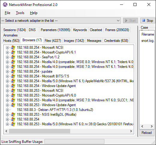 NetworkMiner Professional 2.0 Browsers tab