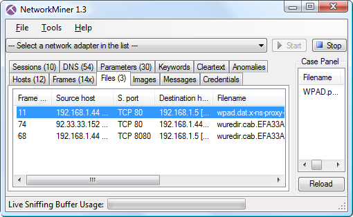 NetworkMiner 1.3 Files tab