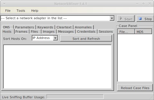 NetworkMiner running on a vanilla Xubuntu machine