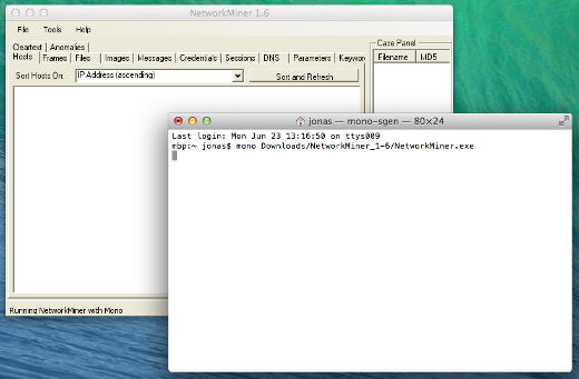 NetworkMiner 1.6 on Mac OS X - Click To Enlarge