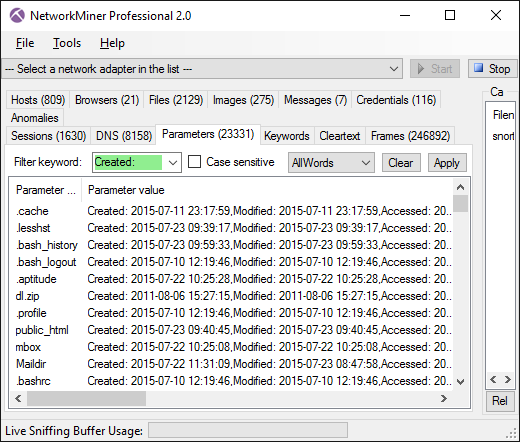 SMB2 file timestamps shown in Parameters tab