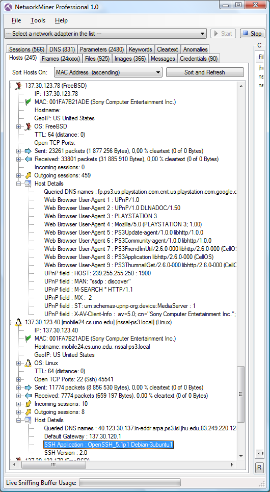 NetworkMiner Professional with Hosts tab from DFRWS 2009