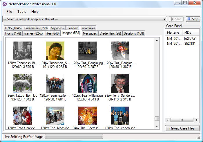 NetworkMiner Professional extracted images and pictures