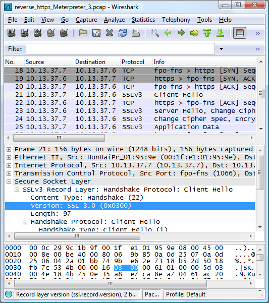 Wireshark with reverse_https traffic