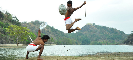 Illangam fighting scene with swords and shields at korathota angampora tradition