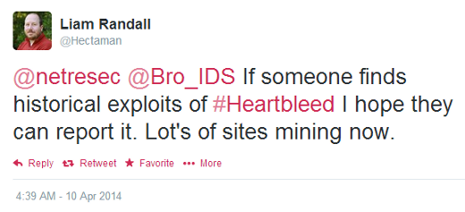 Liam Randall (@Hectaman) tweeting about historical Heartbleed searches