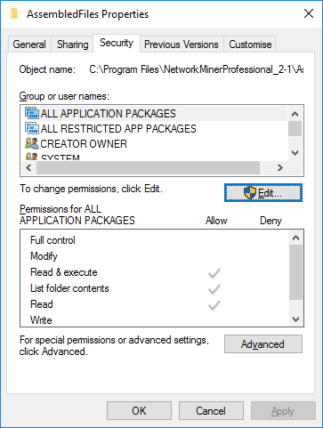 Press Edit to change permissions for AssembledFiles folder