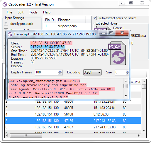 CapLoader 1.2 with Transcript window