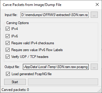 CapLoader's Carve Packets Window