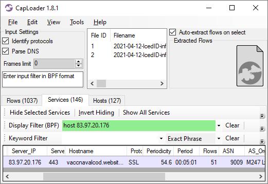 Communication périodique IcedID C2 reconnue par CapLoader