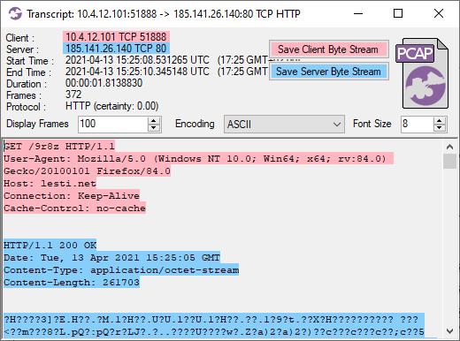 Télécharger la transcription CapLoder de CobaltStrike Beacon
