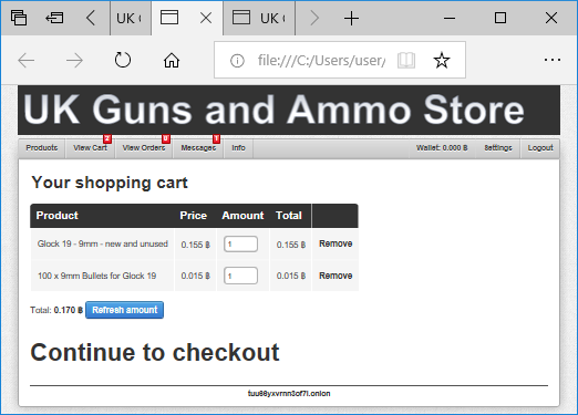 UK Guns and Ammo Store - Shopping Cart (dark web)