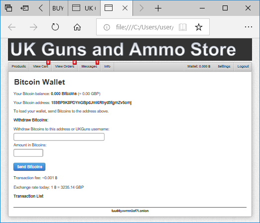 UK Guns and Ammo Store - Bitcoin Wallet (dark web)