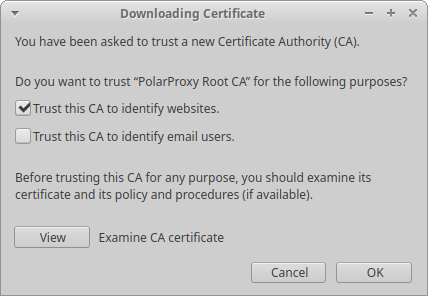 Firefox: Trust this CA to identify websites