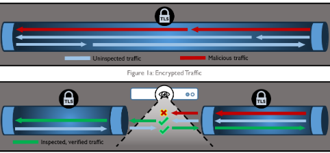 Encrypted Traffic (top) and TLS Inspection (bottom) as shown in NSA's TLSI advisory