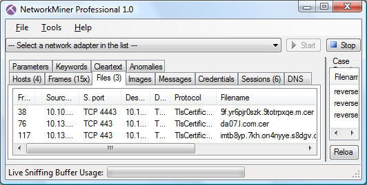 NetworkMiner with extracted certificates from Metasplot's reverse_https
