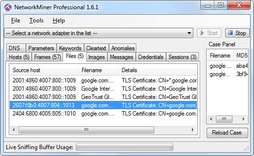 NetworkMiner 1.6.1, Files tab