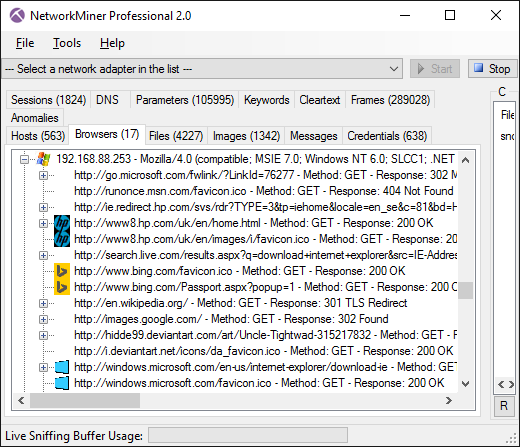 NetworkMiner Professional 2.0 Browsers tab - Favicon