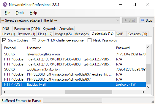 Credentials tab in NetworkMiner Professional 2.3.1 showing username and password sent over Tor to an onion service