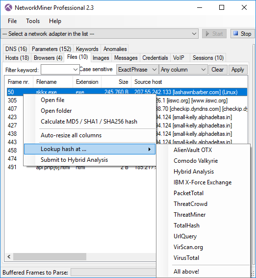 OSINT file hash lookup in NetworkMiner Professional 2.3