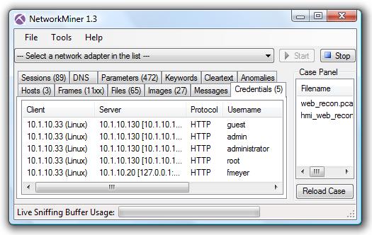 NetworkMiner with web_recon.pcap and hmi_web_recon.pcap loaded