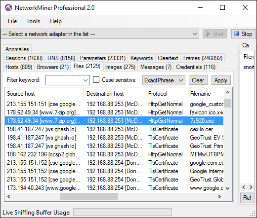 NetworkMiner with extracted .exe file