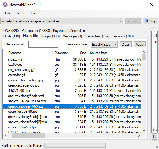 NetworkMiner 2.1.1 with Files tab open.