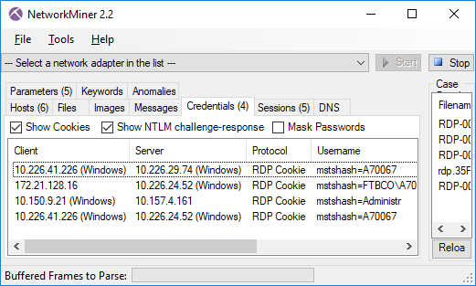 RDP Cookies extracted with NetworkMiner 2.2