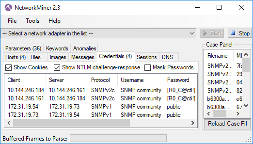SNMP Community Strings in NetworkMiner's Credential tab
