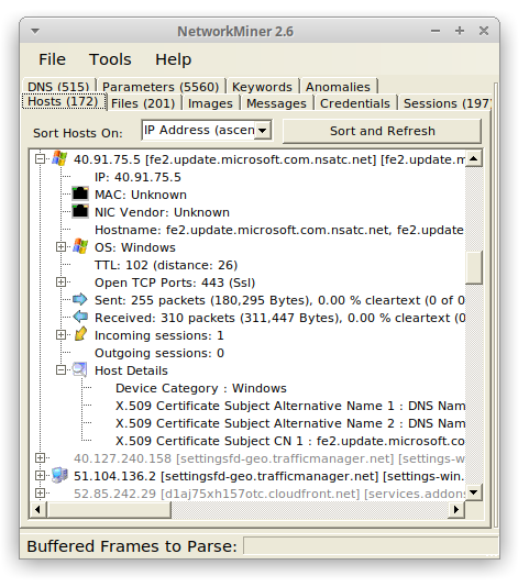 NetworkMiner running in Ubuntu 20.04