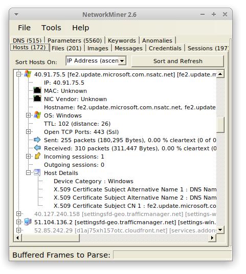 NetworkMiner running in Ubuntu 20.04