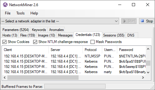 NTLMv2 and Kerberos hashes in NetworkMiner 2.6