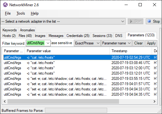 NetworkMiner 2.6 Parameters