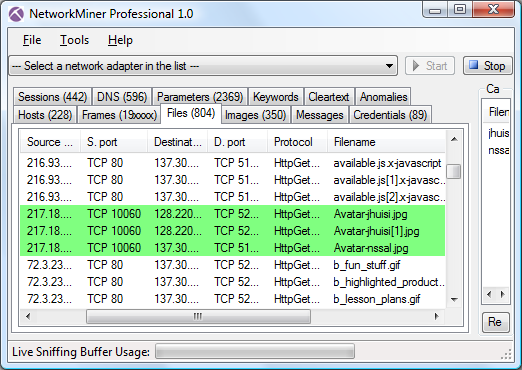 NetworkMiner Professional Screenshot with Files tab