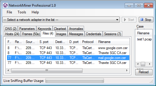 SSL capture file test1.pcap opened in NetworkMiner Professional