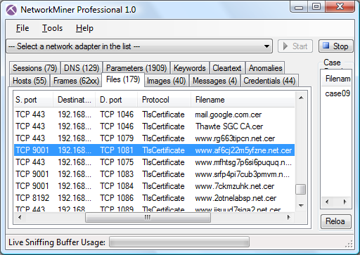 NetworkMiner Professional 1.0 Files tab with extracted TOR/SSL certificates