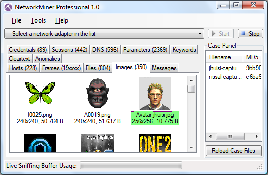 NetworkMiner Professional Screenshot with Images tab