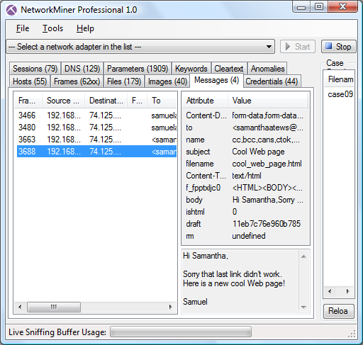 NetworkMiner Professional 1.0 Messages tab showing extracted email