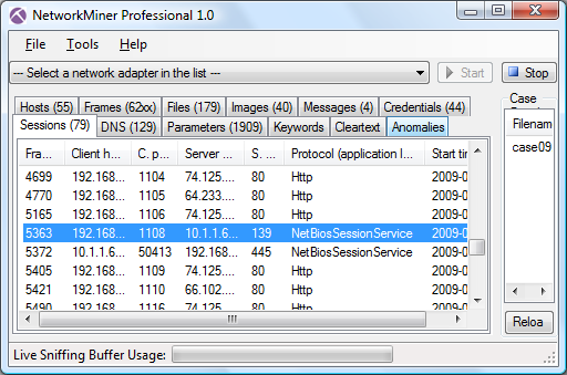 NetworkMiner Professional 1.0 Sessions tab with SMB session
