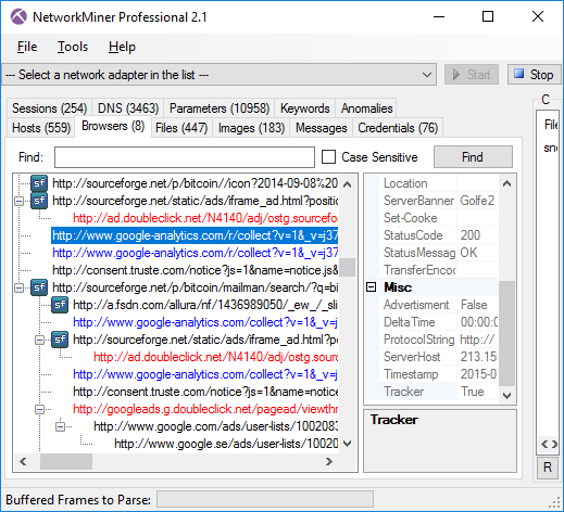 NetworkMiner Professional 2.1 showing Advertisments (red) and Trackers (blue)