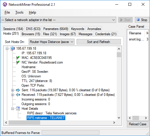 Host Details with RIPE netname