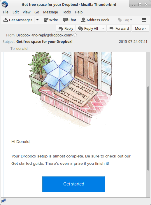 Extracted email Get_free_s.eml opened in Mozilla Thunderbird