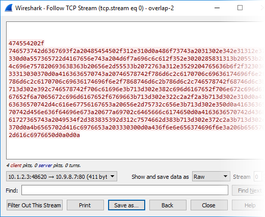 Follow TCP Stream window in Wireshark