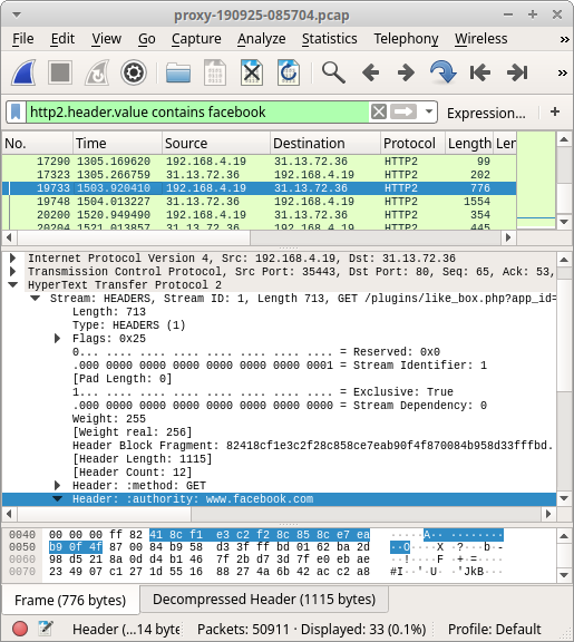HTTP/2 traffic to Facebook opened in Wireshark