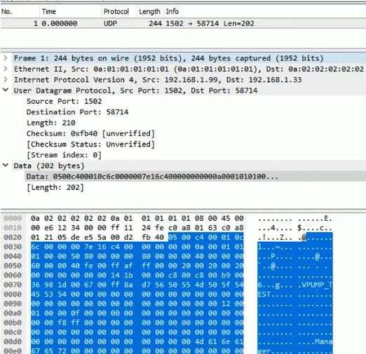 Wireshark with Steve's re-created TriStation PCAP