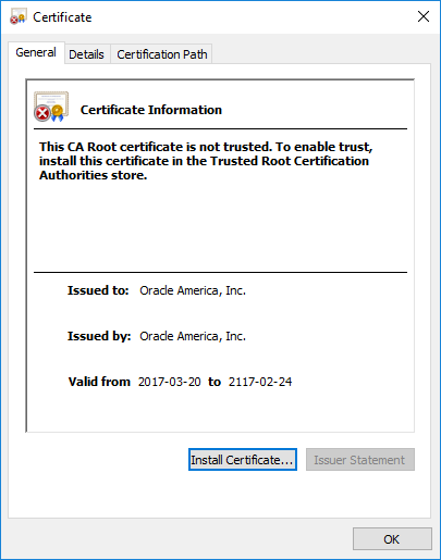 Self-signed Oracle America, Inc. X.509 certificate
